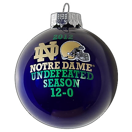 """Notre Dame """"Undefeated Season"""" Navy Ball Christmas Tree Ornament - Notre Dame €�Undefeated Season"""" Navy Ball Christmas Tree Ornament"""