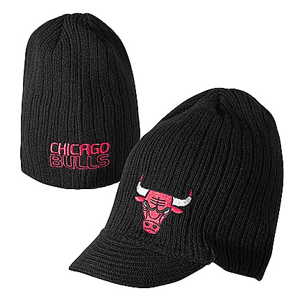 Chicago Bulls Black Knit Hat with Visor and Logo