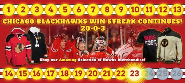 Chicago Blackhawks 20-0-3